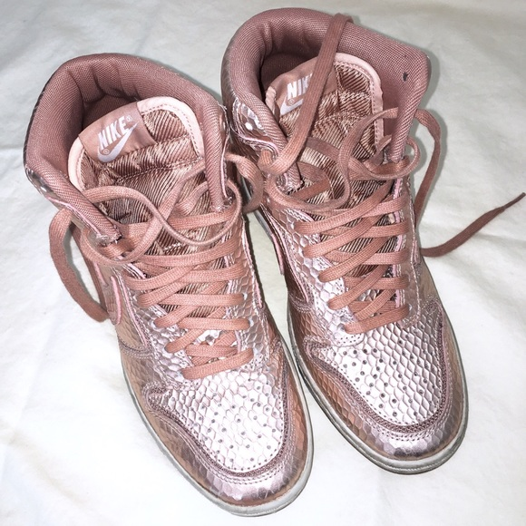 6780177a098 NIKE Dunk Sky Hi Rose Gold Pink Wedge Size 5.5